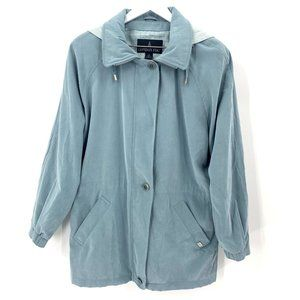 London Fog Wms Cinch Waist Detachable Hood Coat